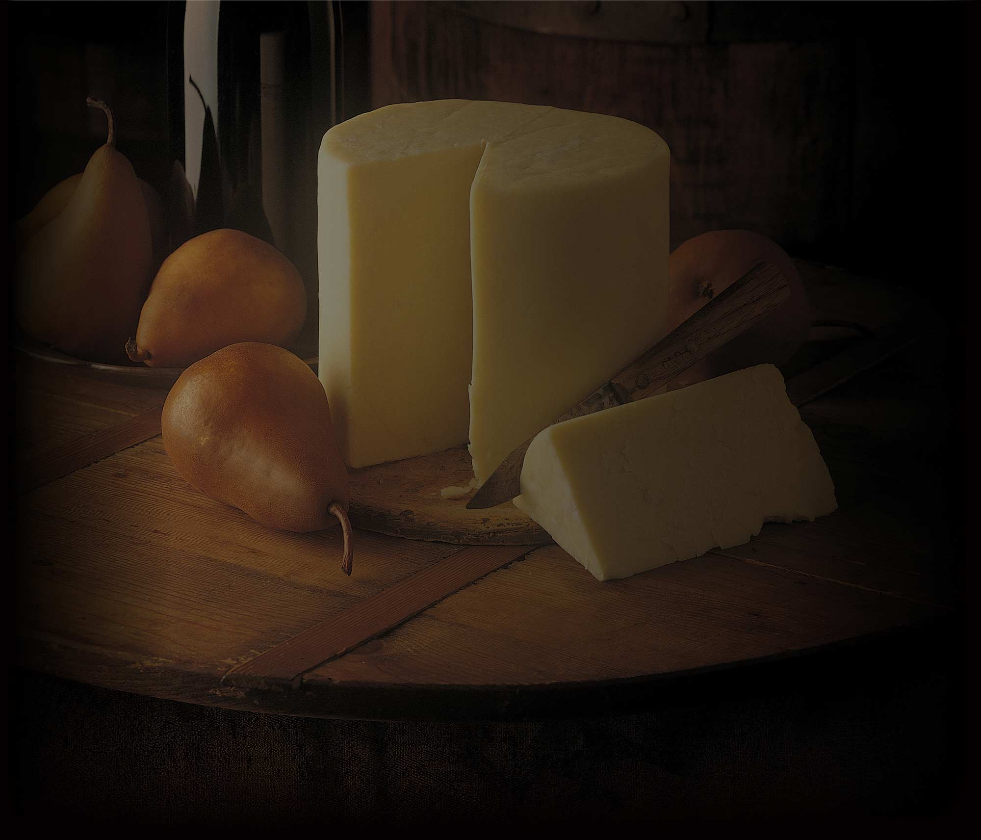 Background image: Cheese and pears