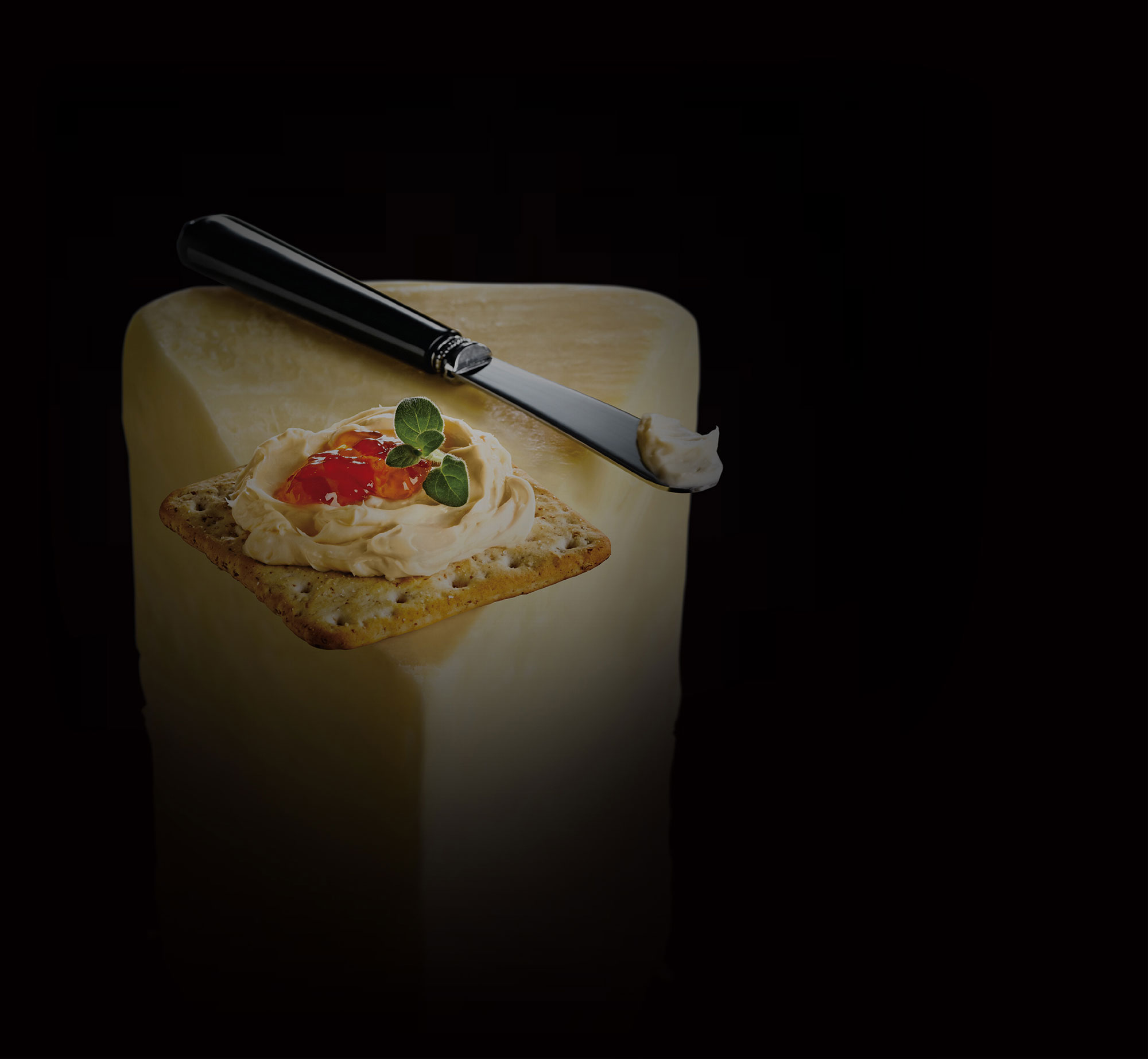 Background image: Spreadable cheese on cracker