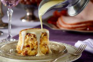 Cheesy bread pudding