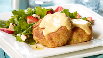 COD CAKES WITH BALDERSON CHEDDAR SAUCE