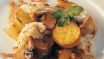 Raclette Sausage with Mushrooms and Potato