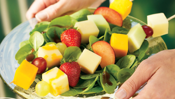 Salad With Triple Cheddar Fruit Kabobs