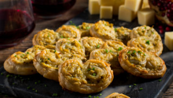 CHEDDAR AND ARTICHOKE PALMIERS