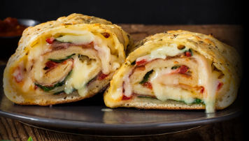 CHEDDAR, PROSCIUTTO AND ROASTED RED PEPPER STROMBOLI