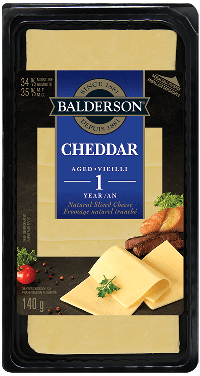 Balderson Natural Sliced Cheese - Cheddar - Aged 1 Year